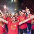 Confeti en la fiesta del ascenso del Girona FC
