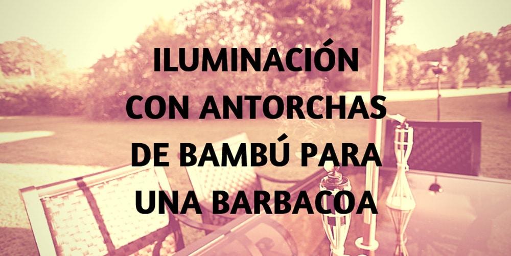 iluminación antorchas bambú barbacoa