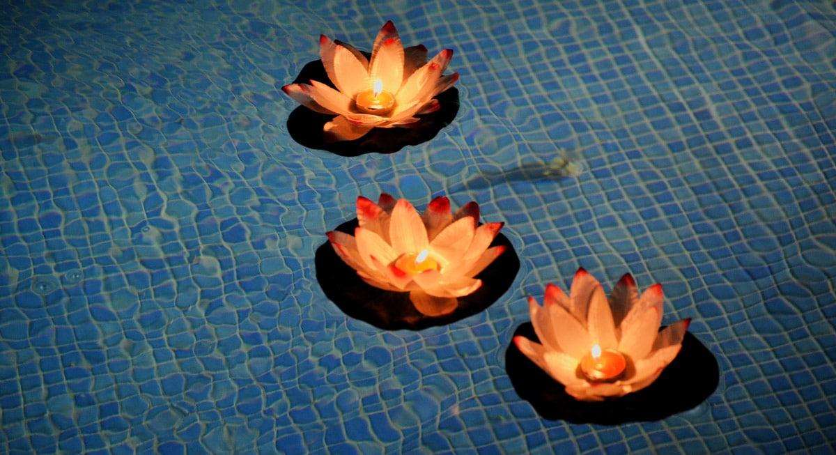 Velas flor para piscina