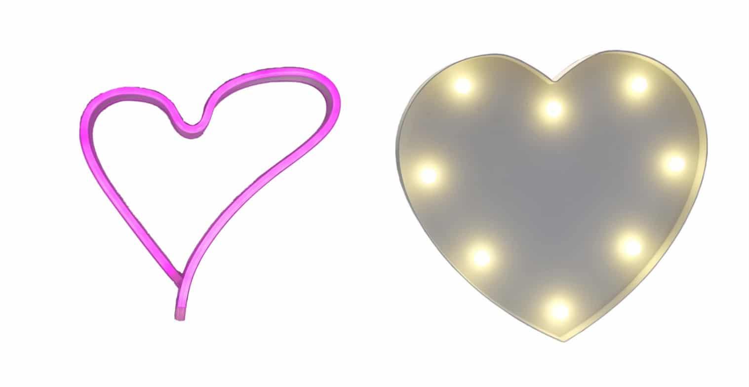 Lámparas LED corazón
