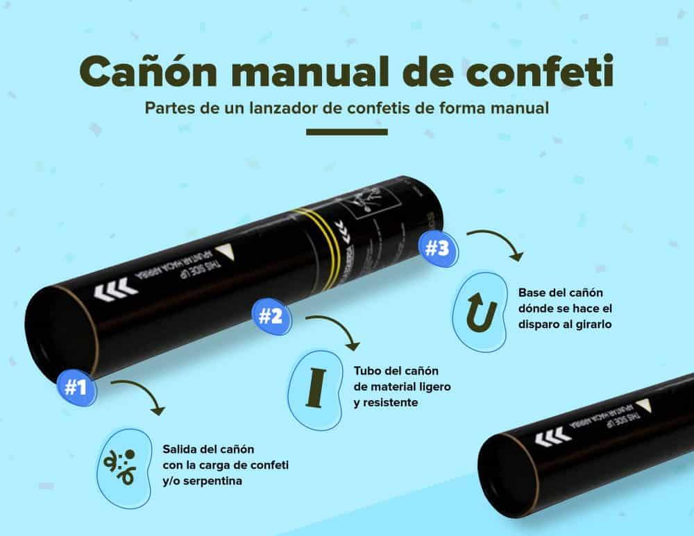cómo funciona cañón confeti manual